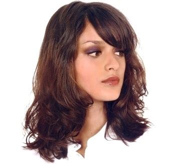 Womens Medium Length Hair Style With Wavy Curl, Bangs, Brunette