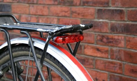 bicycle light rack mount bodge attaching a rear light beneath a pannier rack