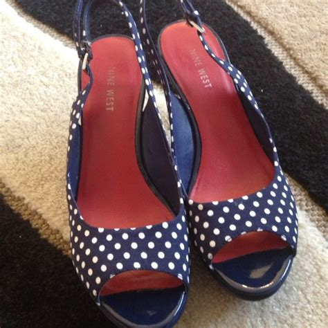 Mickey Green Polka Shoes Sz 26 30 71 nine west shoes navy white polka dot peep toe heels from s closet on