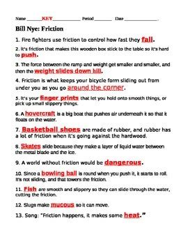 Bill Nye Chemical Reactions Worksheet Answers by Bill Nye Friction Questions Bill Nye Nye And