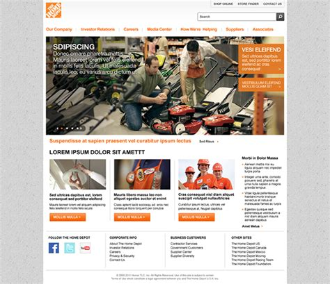home depot corporate site on behance