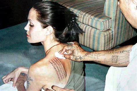angelina jolie yantra tattoo angelina jolie ha un nuovo enorme tatuaggio sulla schiena