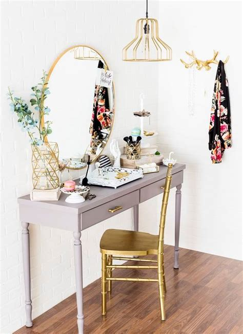 grey and gold desk 25 ideas to create an ultimate makeup nook digsdigs