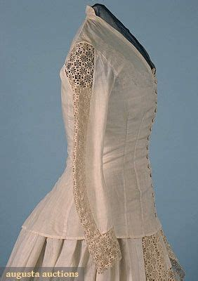 cotton & lace wedding dress, 1880s | women's fashion