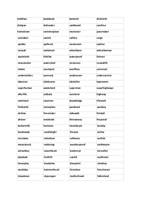 large list of compound nouns to in pdf