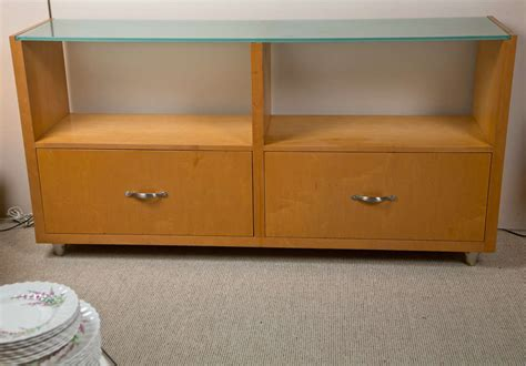 Custom Wood Drawers by Custom Made Wood Cabinet W Frosted Glass And Two Drawers