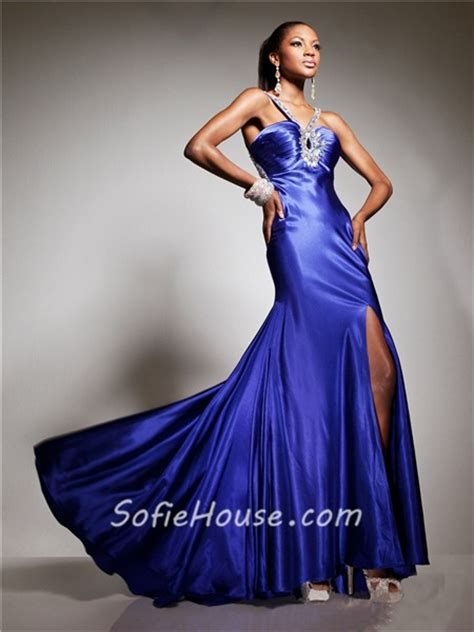 Blue Silk Backless Dress couture mermaid straps turquoise silk prom dress cut