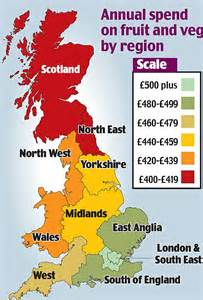 map uk south divide the junk food divide spends least on fruit and