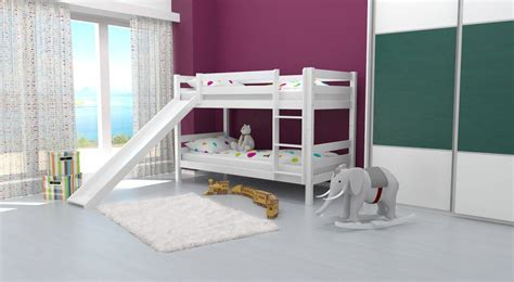 Bunk Bed With Slide Bunk Bed Children S Bed David With Slide Solid Beech Wood White Painted Incl Slatted