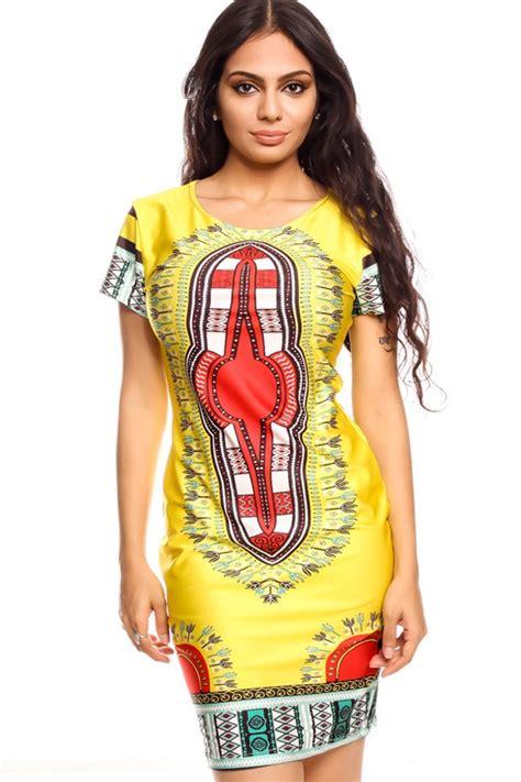 Dress Tribal Casual yellow bright sleeve tribal design causal dress