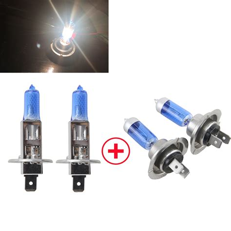 low blue light bulbs 6500k xenon white h1 h7 high low beam 55w 12v gas halogen