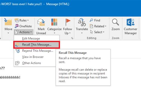 Office 365 Recall Message How To Recall A Sent Email Message In Outlook Windows