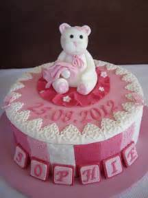 Teddy pink girl baby shower cakes designs