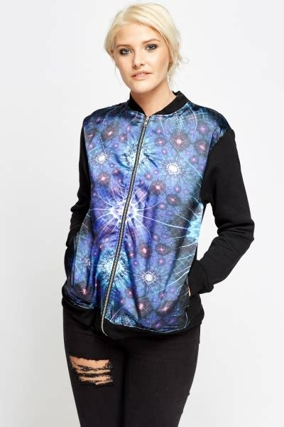 Galaxy Bomber Jacket Printing galaxy print front bomber jacket black multi just 163 5