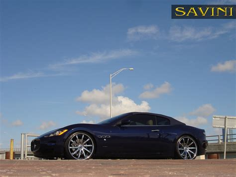 chrome blue maserati granturismo savini wheels