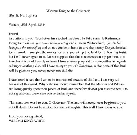 Letter For Land Purchase Wiremu Kingi Letter To The Governor Nzhistory New Zealand History