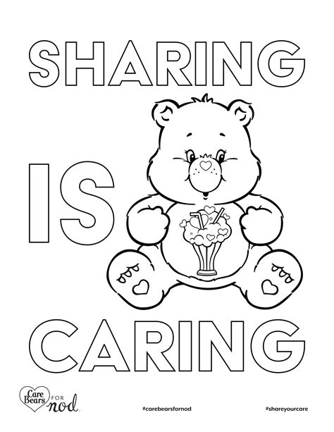 share bear coloring page share your care day printable care bears coloring pages