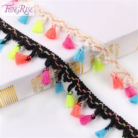 Handmade Sewing - fengrise 4 5cm 5 yards cotton lace tassel trim rainbow