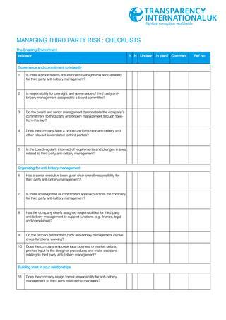 Third Party Anti Bribery Framework Checklist By Transparency International Uk Issuu Third Risk Assessment Template