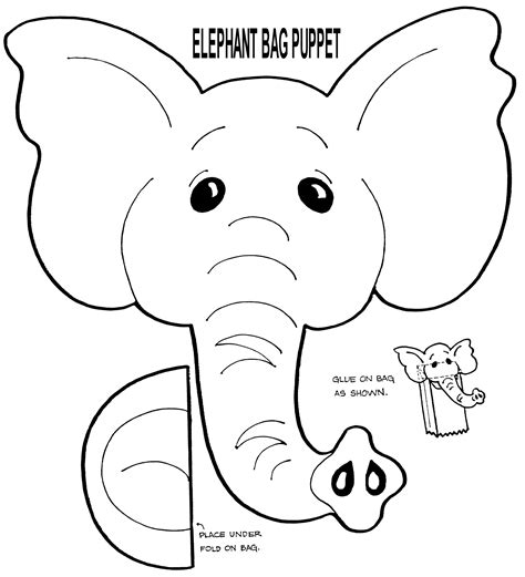 paper bag dog pattern free muppet puppet patterns to print elephant puppet