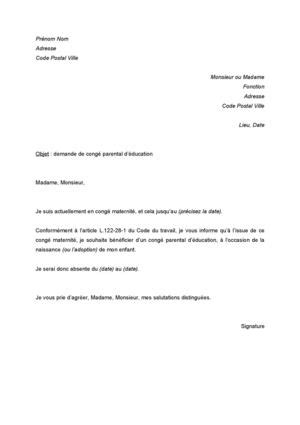 Exemple De Lettre Congé Parental Modele Lettre 80 Conge Parental Document