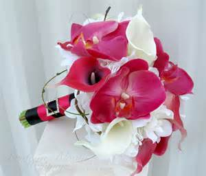 orchid bouquet calla orchid pink white real touch wedding bouquet