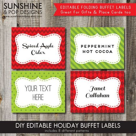 labels for buffet instant 8 editable folding buffet cards food labels place cards