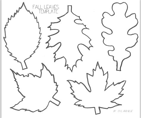 printable small leaves oil and blue fall leaf line drawing template free printable