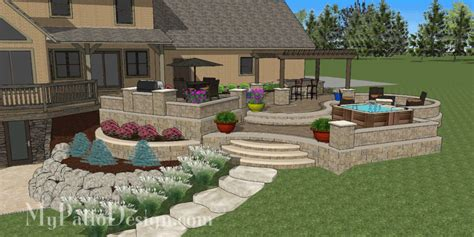 Kitchen Layouts And Designs by Curvy Terraced Patio Design Creates Fabulous Outdoor