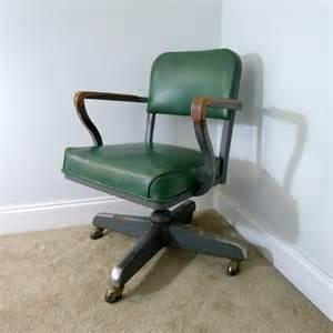Office Chair Metal Wheels Vintage Green Steelcase Green Vinyl Desk Chair Steel
