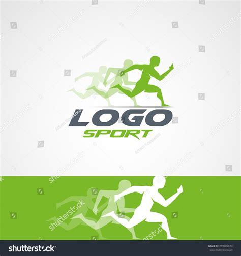 design logo running abstract man design concept onlain academy stock vector