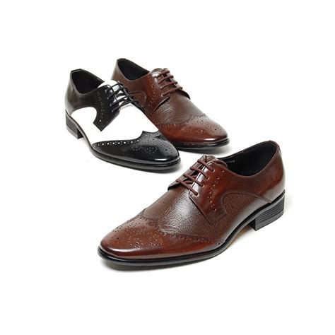 brown oxfords s shoes s brown black white leather wing tip open lacing