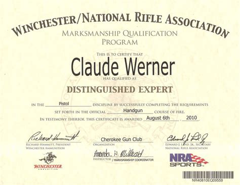 nra certificate template nra defensive pistol qualification the outdoors trader