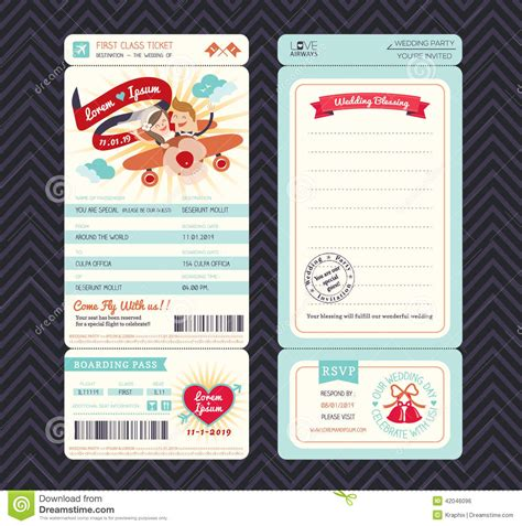 cartoon boarding pass ticket wedding invitation template