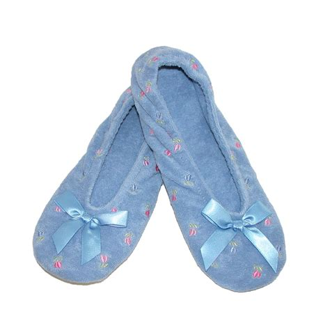 totes slippers womens womens embroidered terry ballerina slippers by totes