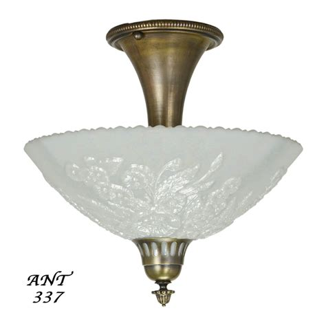 Antique Ceiling Light Fixtures Antique Opal Glass Bowl Shade Ceiling Light Fixture Semi Flush Mount Ant 337 For Sale