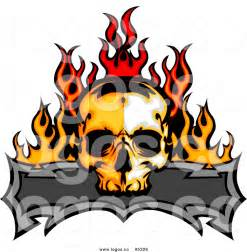 royalty free vector of a logo of a flaming skull and