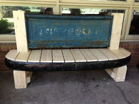 bench made from truck tailgate tailgate bench made with tailgate and front bumper from a 1954 chevy pickup outdoor