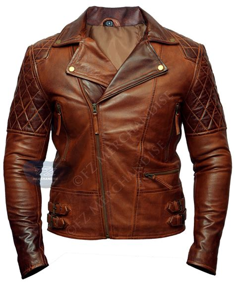 classic leather motorcycle mens biker vintage motorcycle racer brown distressed