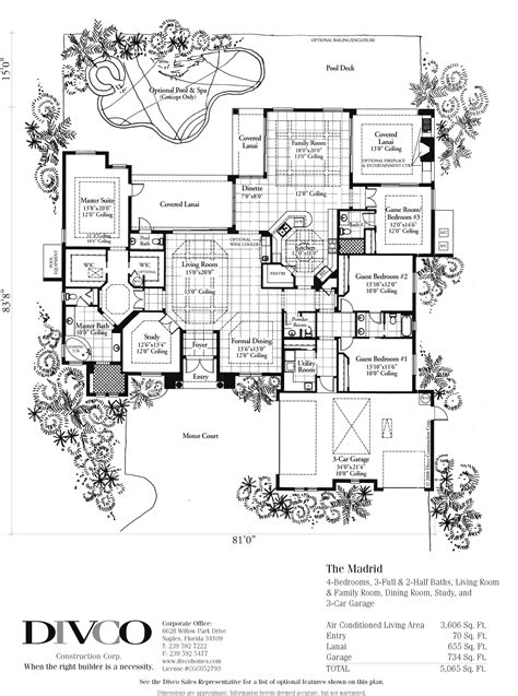 florida custom home plans divco floor plan the madrid divco custom home builder