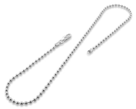 sterling silver 18 quot bead chain necklace 3 0mm
