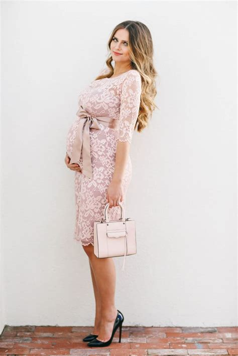 Pink Baby Shower Maternity Dresses by Bumpstyle Blush Pink Lace Maternity Dress
