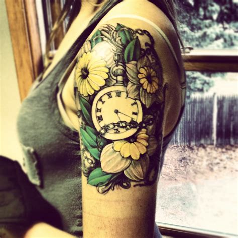stopwatch tattoo designs clock in flowers best ideas designs