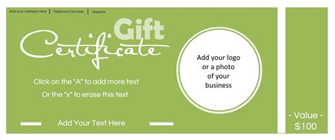 free customizable business card template gift certificate template with logo