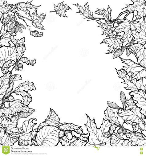Autumn Leaves Square Frame Black And White Sketch Stock Vector Illustration Of Festival Leaf Border Template