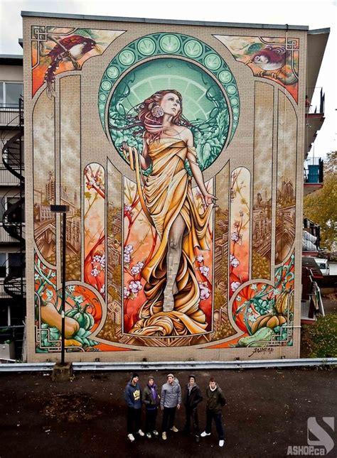 modern mural massive art nouveau inspired mural in montreal my modern met