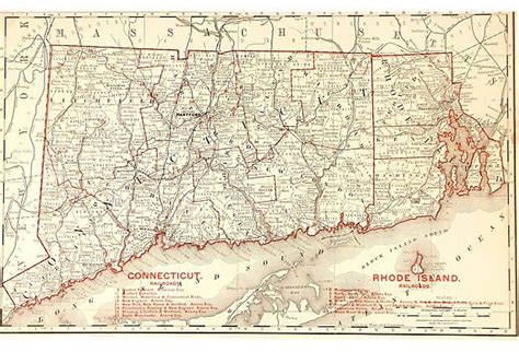 map of ri and ct map of connecticut rhode island 1888