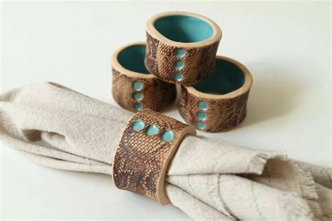 handmade turquoise and lace napkin rings set by