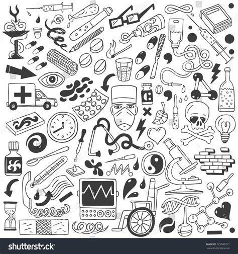 doodle free alternative medicine doodles collection stock vector 123048271