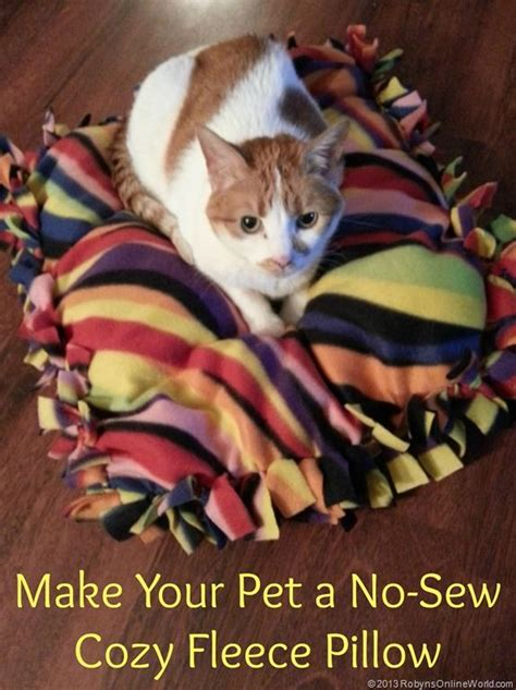 No Sew Fleece Pillow Directions by An Easy Craft Project Make Your Pet A No Sew Cozy Fleece